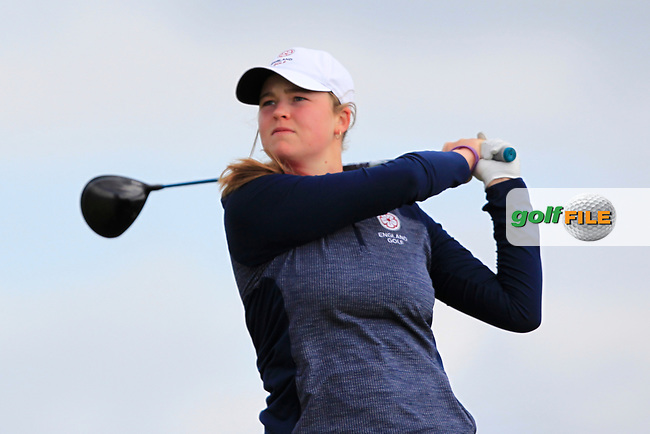Euphemie Rhodes (ENG) on the 8th tee during Round 3 Matchplay of the Women's Amateur Championship at Royal County Down Golf Club in Newcastle Co. Down on Friday 14th June 2019.<br /> Picture:  Thos Caffrey / www.golffile.ie