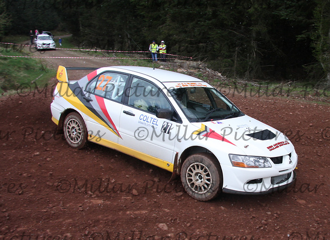 Douglas Gilbert / Brian Anderson in a Mitsubishi Evolution 8 at Junction 8 on Whytes Cranes Special Stage 3 Drumtochty of the Coltel Granite City Rally 2012 which was based at the Thainstone Agricultural Centre, Inverurie.