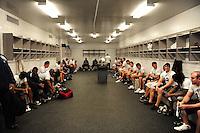 Jun. 13, 2009; Las Vegas, NV, USA; Players wait in the locker room prior to the start of the United Football League workout at Sam Boyd Stadium. Mandatory Credit: Mark J. Rebilas-