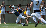 SIOUX FALLS, SD - SEPTEMBER 2: Hunter Braaten #4 from the University of Minnesota Morehead stretches to catch the ball against Augustana in the first half of their game Saturday afternoon at Augustana University. (Photo by Dave Eggen/Inertia)