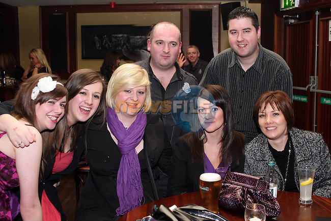 Annemarie Branigan, Sarah Flood, Jackie Forbes, Michelle Dowling, Theresa Devine, Damien Quigley and Shane Branigan in McHughs...Photo NEWSFILE/Jenny Matthews.(Photo credit should read Jenny Matthews/NEWSFILE)....This Picture has been sent you under the condtions enclosed by:.Newsfile Ltd..The Studio,.Millmount Abbey,.Drogheda,.Co Meath..Ireland..Tel: +353(0)41-9871240.Fax: +353(0)41-9871260.GSM: +353(0)86-2500958.email: pictures@newsfile.ie.www.newsfile.ie.FTP: 193.120.102.198.