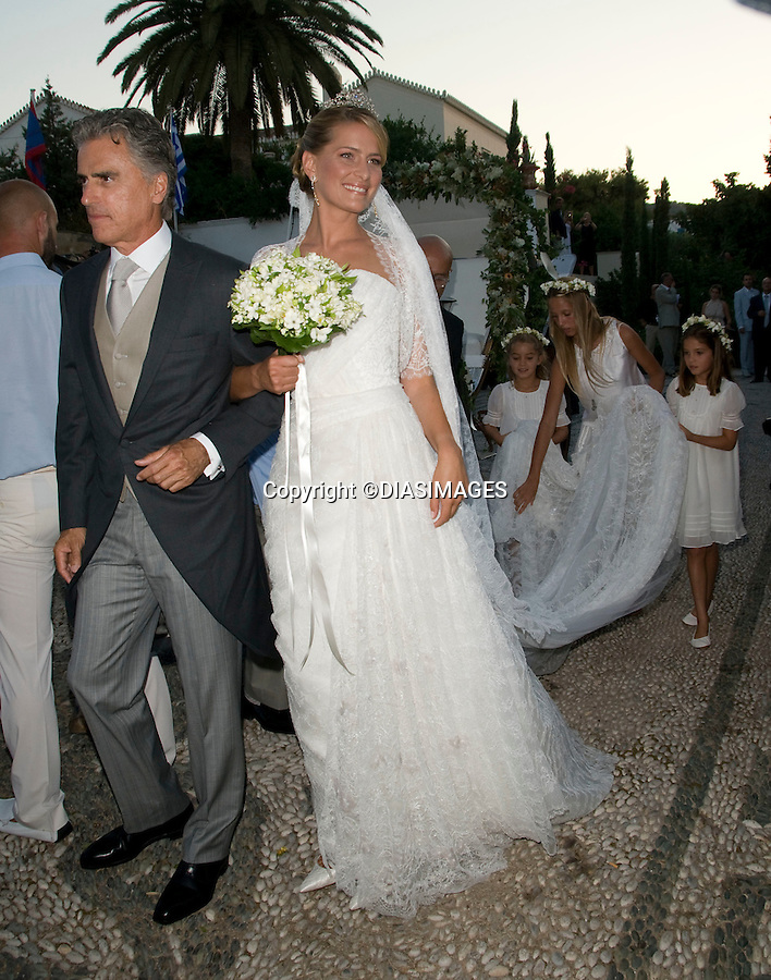 "PRINCE NIKOLAOS AND TATIANA BLATNIK WEDDING_Bride Arrives WIth Stepfather.St Nikolaos Church, Spetses, Greece_25/08/2010.Mandatory Credit Photo: ©DIASIMAGES..**ALL FEES PAYABLE TO: ""NEWSPIX INTERNATIONAL""**..IMMEDIATE CONFIRMATION OF USAGE REQUIRED:.Newspix International, 31 Chinnery Hill, Bishop's Stortford, ENGLAND CM23 3PS.Tel:+441279 324672  ; Fax: +441279656877.Mobile:  07775681153.e-mail: info@newspixinternational.co.uk"