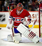 10 April 2010: Montreal Canadiens' goaltender Jaroslav Halak warms up prior to a game against the Toronto Maple Leafs at the Bell Centre in Montreal, Quebec, Canada. The Maple Leafs defeated the Canadiens 4-3 in sudden death overtime. Mandatory Credit: Ed Wolfstein Photo
