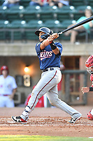 Elizabethton Twins Yeremi De La Cruz (22) swings at a pitch during a game against the Greenville Reds at Pioneer Park on June 29, 2019 in Greeneville, Tennessee. The Twins defeated the Reds 8-1. (Tony Farlow/Four Seam Images)