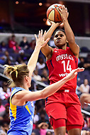 Washington, DC - July 13, 2018: Washington Mystics guard Tierra Ruffin-Pratt (14) shoots a jump shot over Chicago Sky defender during game between the Washington Mystics and Chicago Sky at the Capital One Arena in Washington, DC. The Mystics defeat the Sky 88-72 (Photo by Phil Peters/Media Images International)