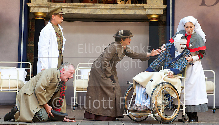 Doctor Scroggy's War <br /> by Howard Brenton <br /> directed by John Dove <br /> at Shakespeare's Globe Theatre, London, Great Britain <br /> press photocall<br /> 15th September 2014 <br /> <br /> James Garnon as Doctor Scroggy<br /> <br /> Rhiannon Oliver as Catherine<br /> <br /> Will Featherstone as Jack <br /> <br /> Will Mannering as Fergal<br /> <br /> Patrick Driver and Katy Stephens as Mr &amp; Mrs Twigg <br /> <br /> Catherine Bailey as Penny <br /> <br /> <br /> Photograph by Elliott Franks <br /> Image licensed to Elliott Franks Photography Services
