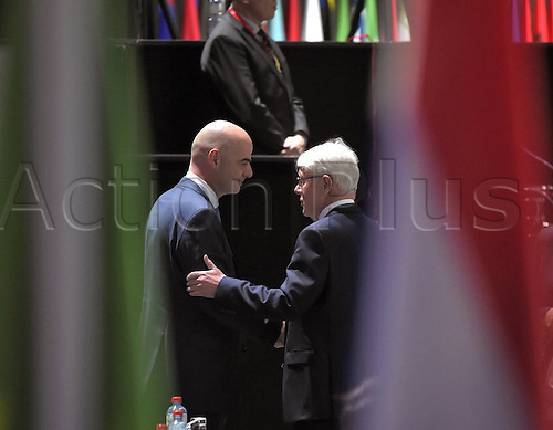 26.02.2016. Zurich, Switzerland. UEFA Secretary-General Gianni Infantino left Switzerland as Dr Reinhard Rauball right Germany congratulates him on his election