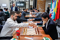 29th December 2019, Moscow, Russia;  Yu Yangyi R, front of Chinaand Ian Nepomniachtchi of Russia shake hands before the final round of the 2019 King Salman World Chess Rapid Open Championship in Moscow, Russia
