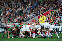 Danny Care of Harlequins prepares to put the ball into a scrum during the Aviva Premiership match between Harlequins and Saracens at the Twickenham Stoop on Sunday 30th September 2012 (Photo by Rob Munro)