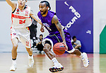 Ewing Richard Scott #0 of HKPA dribbles the ball up court against the Nam Ching during the Hong Kong Basketball League game between Nam Ching and  HKPA at Southorn Stadium on June 12, 2018 in Hong Kong. Photo by Yu Chun Christopher Wong / Power Sport Images