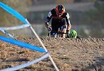 October 17, 2015 - Boulder, Colorado, U.S. - An elite men's cyclist tops a steep climb before working his way through a difficult sandy pitch during the U.S. Open of Cyclocross, Valmont Bike Park, Boulder, Colorado.
