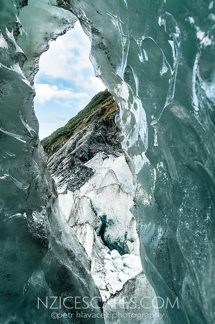 Ice cave on Franz Josef Glacier, Westland Tai Poutini National Park, West Coast, UNESCO World Heritage Area, New Zealand, NZ