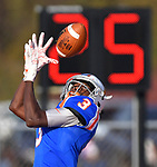 East St. Louis wide receiver Keantez Lewis pulls in a pass in the end zone for a Flyers touchdown. East St. Louis defeated Hoffman Estates in a Class 7A first round football playoff game on Saturday October 27, 2018 at East St. Louis Senior High School.  <br /> Tim Vizer/Special to STLhighschoolsports.com