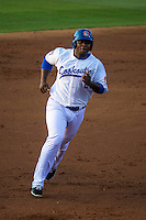 Miguel Sano (24) of the Chattanooga Lookouts runs during a game between the Jackson Generals and Chattanooga Lookouts at AT&T Field on May 8, 2015 in Chattanooga, Tennessee. (Brace Hemmelgarn/Four Seam Images)