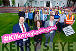 Killarney Mayor Niall Kelliher, Yvonne Quill Killarney Tidy Towns and John Sheahan Kerry Mayor launching the Killarney Looking Good campaign in Killarney on Monday evening