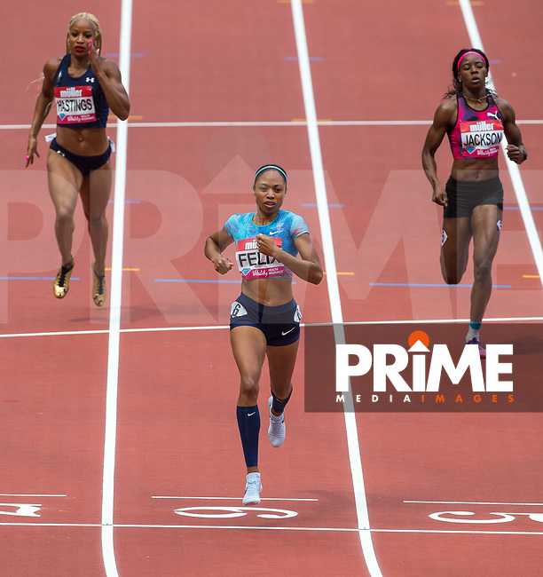 Allyson FELIX of USA wins the 400m in a World Lead time of 49.65 during the IAAF Diamond League Muller London Anniversary Games 2017 at the Queen Elizabeth Park, Olympic Park, London, England on 9 July 2017.  Photo by Andy Rowland.