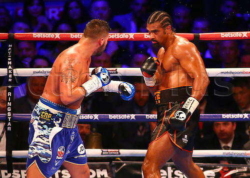 March 4th 2017, O2 Arena, London England; Heavyweight Boxing David Haye versus Tony Bellew; David Haye looks to make a move on Tony Bellew, during the Heavyweight contest