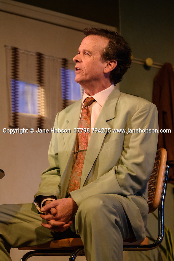 """The first UK production, since the death of playwright Sam Shepard's play """"True West"""", opens at the Vaudeville Theatre, directed by Matthew Dunster. Kit Harington and Johnny Flynn star, as brothers Austin and Lee, with Madeleine Potter and Donald Sage Mackay completing the cast. Picture shows: Donald Sage Mackay (Saul Kimmer)."""