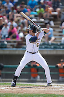 Bradley Zimmer (6) of the Lynchburg Hillcats at bat against the Frederick Keys at Calvin Falwell Field at Lynchburg City Stadium on May 14, 2015 in Lynchburg, Virginia.  The Hillcats defeated the Keys 6-3.  (Brian Westerholt/Four Seam Images)