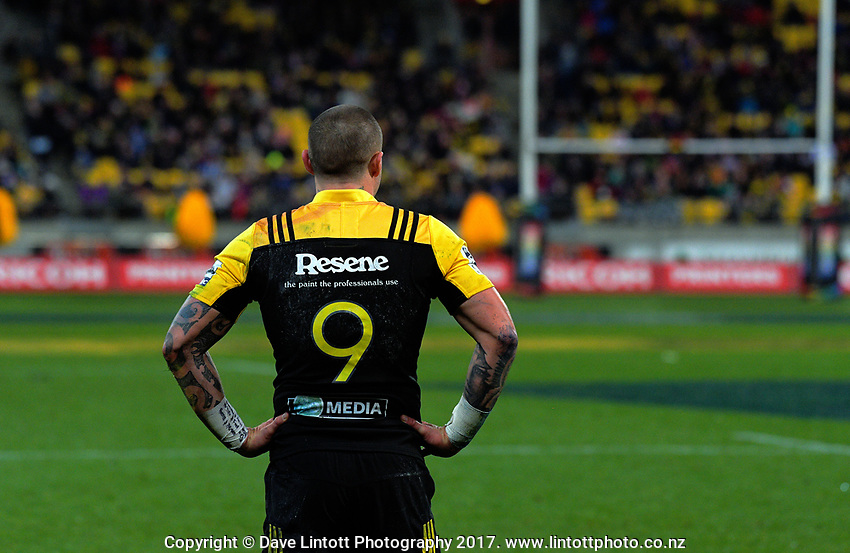 TJ Perenara during the Super Rugby match between the Hurricanes and Crusaders at Westpac Stadium in Wellington, New Zealand on Saturday, 15 July 2017. Photo: Dave Lintott / lintottphoto.co.nz