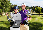 Vivian Lu (L) and Charlie Smail with the winners trophies. New Zealand Amateur Championship, Wairakei Golf Course and Sanctuary, Taupo, New Zealand, Sunday 4  November 2018. Photo: Simon Watts/www.bwmedia.co.nz