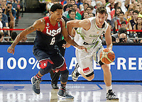 Slovenia's Goran Dragic (r) and USA's Derrick Rose during 2014 FIBA Basketball World Cup Quarter-Finals match.September 9,2014.(ALTERPHOTOS/Acero)