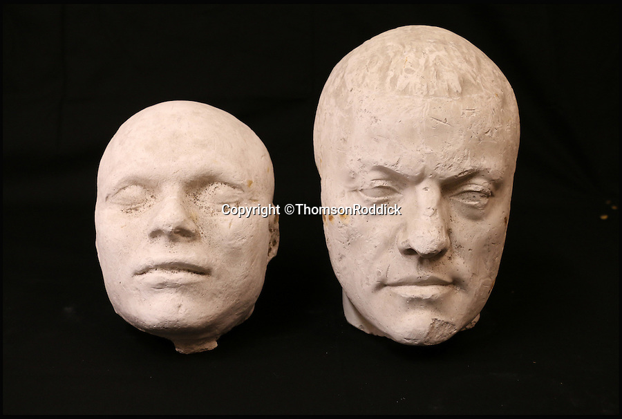 BNPS.co.uk (01202 558833)<br /> Pic: ThomsonRoddick/BNPS<br /> <br /> 19th century plaster death mask head of a man sold for £2,000.<br /> <br /> These disturbing Victorian plaster cast heads of notorious criminals are a far cry from today's bland mugshots of lowlifes.<br /> <br /> Two of the heads have been identified as Benjamin Courvoisier, a serial killer in the mould of Jack the Ripper, and coachman Daniel Good who mutilated his pregnant mistress. <br /> <br /> In total, nine heads were discovered at an outbuilding at a rural home just outside Penrith, Cumbria, which have now fetched almost £40,000 at auction. <br /> <br /> Experts predicted the collection of heads would sell for £2,000  but Courvoisier's head alone went for £20,000.<br /> <br /> Two of the heads were made by the famous British exponent of phrenology, James De Ville, who built a private museum of more than 5,000 specimens.