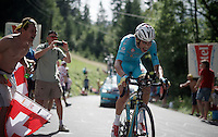 Fabio Aru (ITA/Astana) in full Maori/Hakka-mode<br /> <br /> Stage 18 (ITT) - Sallanches › Megève (17km)<br /> 103rd Tour de France 2016