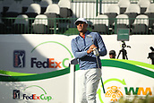 January 31st 2019, Scotsdale, Arizona, USA; Tony Finau watches his drive on the 16th hole during the first round of the Waste Management Phoenix Open