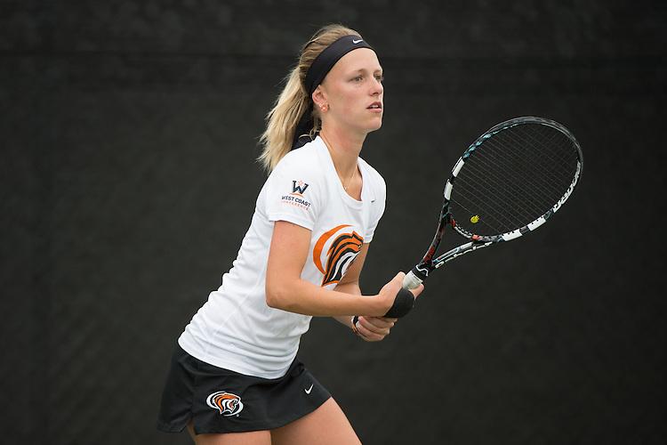 April 22, 2015; San Diego, CA, USA; Pacific Tigers tennis player Hana Ritterova during the WCC Tennis Championships at Barnes Tennis Center.