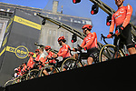 CCC Team on stage at the team presentation in Antwerp before the start of the 2019 Ronde Van Vlaanderen 270km from Antwerp to Oudenaarde, Belgium. 7th April 2019.<br /> Picture: Eoin Clarke | Cyclefile<br /> <br /> All photos usage must carry mandatory copyright credit (&copy; Cyclefile | Eoin Clarke)
