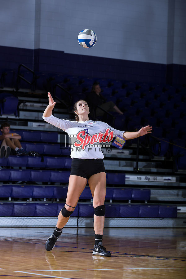 Gabi Mirand (8) of the High Point Panthers serves against the Wake Forest Demon Deacons at the Panther Invitational at the Millis Athletic Center on September 12, 2015 in High Point, North Carolina.  The Demon Deacons defeated the Panthers 3-1.   (Brian Westerholt/Sports On Film)