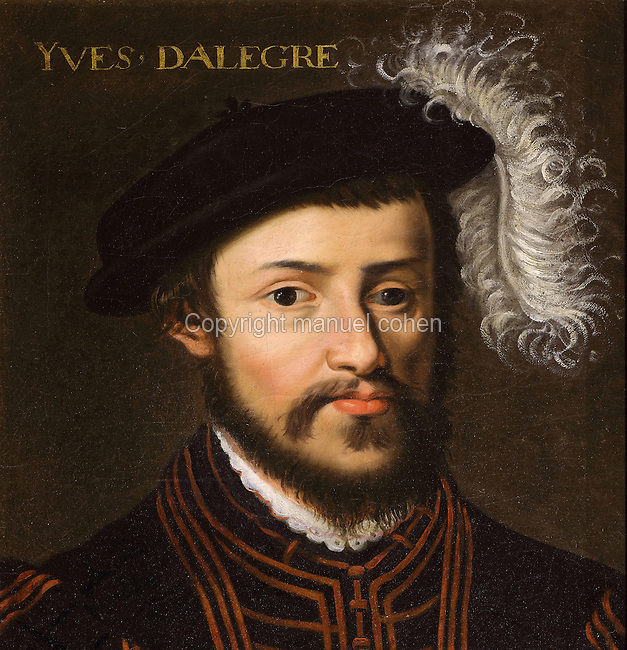 Portrait of Yves d'Allegre, 1450-1512, French captain during the Italian Wars, in the Galerie des Illustres or Gallery of Portraits, early 17th century, in the Chateau de Beauregard, a Renaissance chateau in the Loire Valley, built c. 1545 under Jean du Thiers and further developed after 1617 by Paul Ardier, Comptroller of Wars and Treasurer, in Cellettes, Loir-et-Cher, Centre, France. The Gallery of Portraits is a 26m long room with lapis lazuli ceiling, Delftware tiled floor and decorated with 327 portraits of important European figures living 1328-1643, in the times of Henri III, Henri IV and Louis XIII. The chateau is listed as a historic monument. Picture by Manuel Cohen