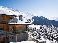 Magnificent snow-capped mountains surround the chalet and the town of Verbier in the valley below