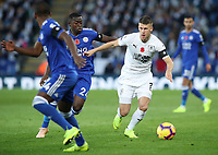 Burnley's Johann Gu_mundsson and Leicester City's Nampalys Mendy<br /> <br /> Photographer Rachel Holborn/CameraSport<br /> <br /> The Premier League - Saturday 10th November 2018 - Leicester City v Burnley - King Power Stadium - Leicester<br /> <br /> World Copyright &copy; 2018 CameraSport. All rights reserved. 43 Linden Ave. Countesthorpe. Leicester. England. LE8 5PG - Tel: +44 (0) 116 277 4147 - admin@camerasport.com - www.camerasport.com