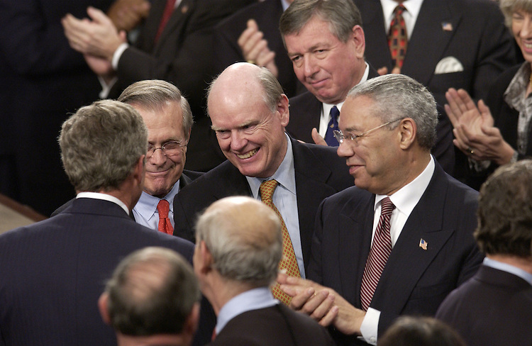President George w. Bush, Secretary of Defense Donald Rumsfeld, Secretary of the Treasury John  W. Snow, Attorney General John Ashcroft and Secretary of State Colin Powell  after the State of the Union address.