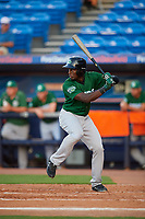Daytona Tortugas designated hitter Taylor Trammell (5) at bat during a game against the St. Lucie Mets on August 3, 2018 at First Data Field in Port St. Lucie, Florida.  Daytona defeated St. Lucie 3-2.  (Mike Janes/Four Seam Images)