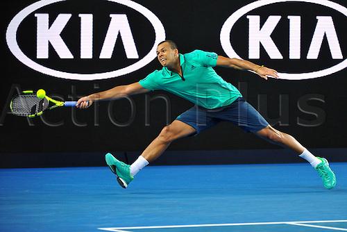 22.01.2016. Melbourne Park, Melbourne, Australia, Australian Open Tennis Championships.  Jo Wilfried Tsonga (FRA)