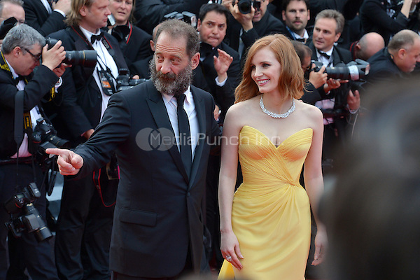 Vincent Lindon and Jessica Chastain at &quot;Cafe Society&quot; &amp; Opening Gala arrivals - The 69th Annual Cannes Film Festival, France on May 11, 2016.<br /> CAP/LAF<br /> &copy;Lafitte/Capital Pictures /MediaPunch ***NORTH AND SOUTH AMERICA SALES ONLY***