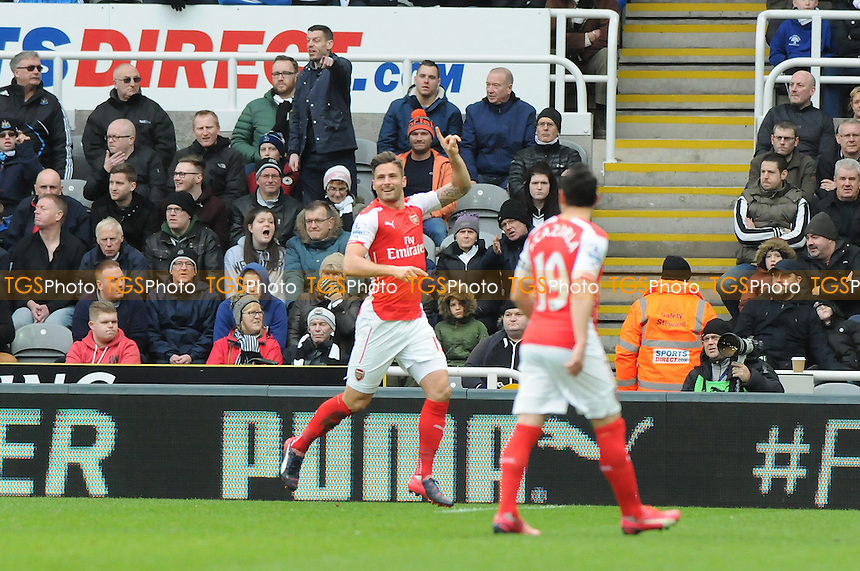Olivier Giroud of Arsenal celebrates scoring the opening goal of the game - Newcastle United vs Arsenal - Barclays Premier League Football at St James Park, Newcastle upon Tyne - 21/03/15 - MANDATORY CREDIT: Steven White/TGSPHOTO - Self billing applies where appropriate - contact@tgsphoto.co.uk - NO UNPAID USE