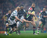 Joe Marler of Harlequins is tackled by Declan Danaher of London Irish during the Aviva Premiership match between Harlequins and London Irish at Twickenham on Saturday 29th December 2012 (Photo by Rob Munro).
