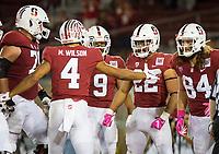 Stanford, CA - October 5, 2019: Cameron Scarlett, Michael Wilson, Colby Parkinson, Osiris St. Brown at Stanford Stadium. The Stanford Cardinal beat the University of Washington Huskies 23-13.