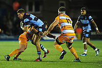 Jason Harries of Cardiff Blues is tackled by Gunther Janse van Vuuren of Toyota Cheetahs during the Guinness Pro14 Round 5 match between Cardiff Blues and Toyota Cheetahs at the Cardiff Arms Park Stadium in Cardiff, Wales, UK. Friday 28 September 2018