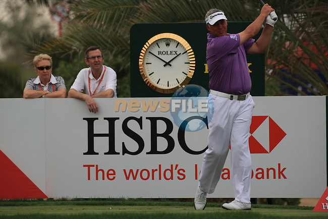 Darren Clarke teeing off on the 9th tee on day one of the Abu Dhabi HSBC Golf Championship 2011, at the Abu Dhabi golf club, UAE. 20/1/11..Picture Fran Caffrey/www.golffile.ie.