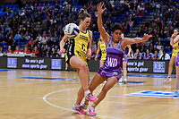 Pulse&rsquo; Claire Kersten and Stars&rsquo; Fa&rsquo;amu Ioane in action during the ANZ Premiership - Pulse v Northern Stars at Te Rauparaha Arena, Porirua, New Zealand on Monday 25 June 2018.<br /> Photo by Masanori Udagawa. <br /> www.photowellington.photoshelter.com