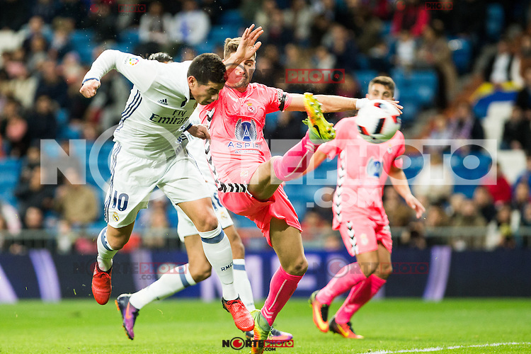 "Real Madrid's James Rodriguez , Cultural Leonesa's Cesar Morgado during the match of ""Copa del Rey"" between Real Madrid and Cultural Leonesa at Santiago Bernabeu Stadium in Madrid, Spain. November 29, 2016. (ALTERPHOTOS/Rodrigo Jimenez) /NORTEPHOTO.COM"