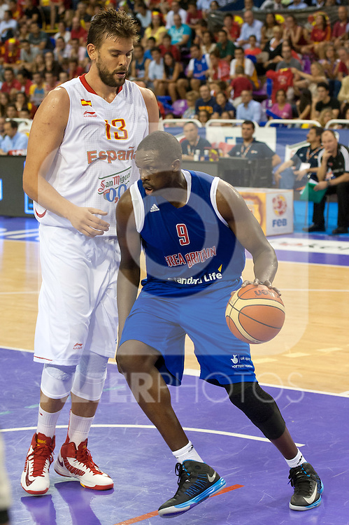 Spain's Marc Gasol and Great Britain's Luol Deng  during friendly match.July 9,2012.(ALTERPHOTOS/Ricky)