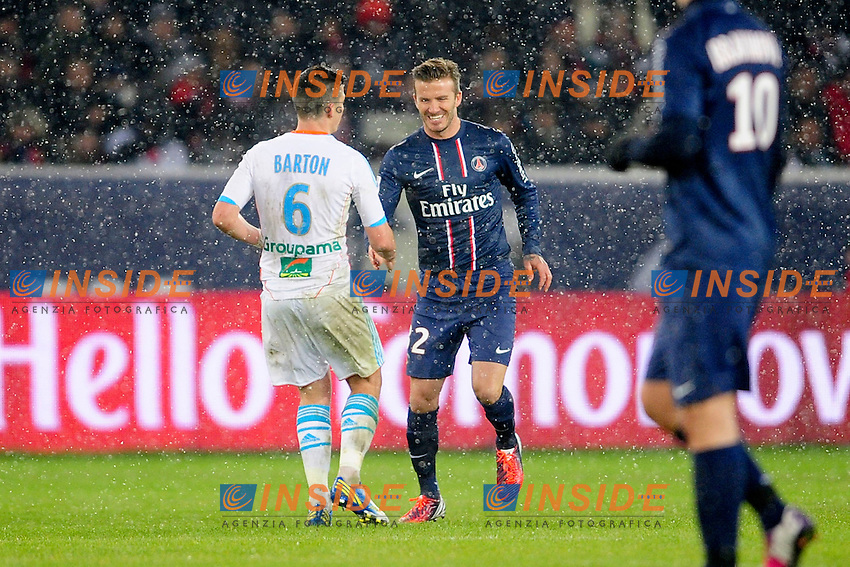 David Beckham (psg) vs Joe Barton (om) .Parigi 24/2/2013 Football Calcio 2012/2013.Ligue 1 Francia.Foto Panoramic / Insidefoto .ITALY ONLY
