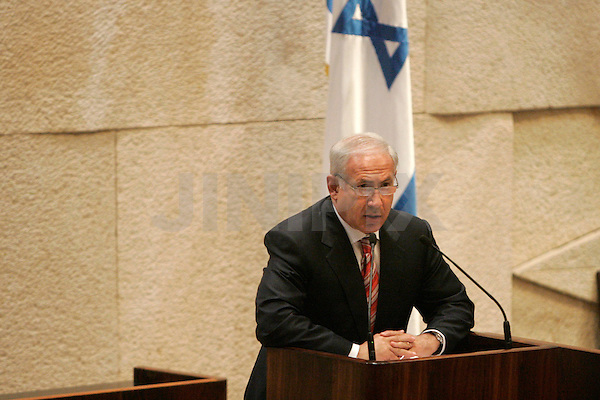 Israel's prime minister-elect Binyamin Netanyahu speaks to the Knesset at a parliamentary session marking 30 years since the signing of a peace agreement between Israel and Egypt, Jerusalem, March 30, 2009. Photo by: Daniel Bar On/JINI...