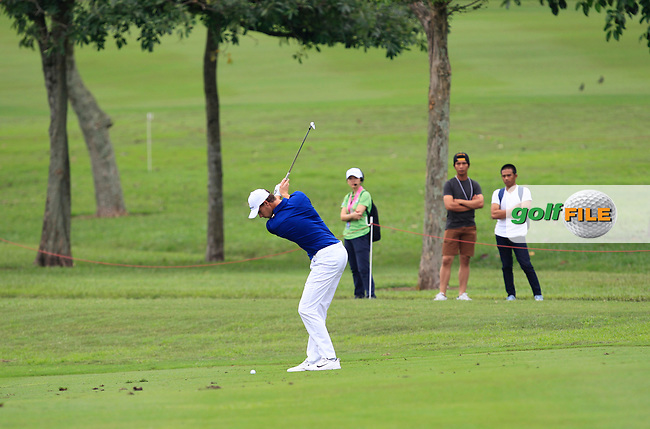 Thomas Pieters (Europe) on the 1st fairway during the Singles Matches of the Eurasia Cup at Glenmarie Golf and Country Club on the Sunday 14th January 2018.<br /> Picture:  Thos Caffrey / www.golffile.ie